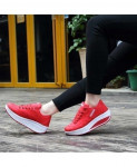 Red Breathable Ladies Running Wedges Sport Shoes AT-890