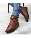Brown Leather Warm Cotton Ankle Lace Up Casual Shoes