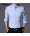 COODRONY Sky Blue Plaid Pattern Casual Shirt