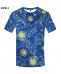 KYKU Blue Paint Spandex Polyester O-Neck 3d T-Shirt