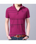 Langbeeyar Pink Black Lining Breathable Cotton T Shirt