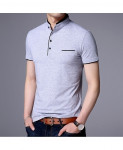 Langbeeyar Gray Breathable Slim Fit Cotton T Shirt
