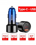 Baseus Blue Type C Dual Usb Abs Quick Car Charger
