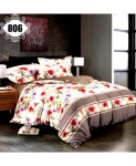 3D White Floral Stylish Cotton Bedsheet SN-806