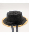 oZyc Black Bow Knot Style Breathable Flat High Beach Hat Sun