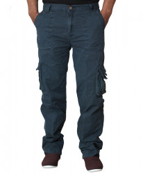Blue Mens 6 Pocket Stylish Cargo Trouser