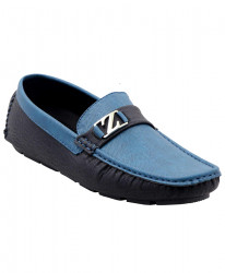 Zara Blue And Black Stitched Loafer Shoes SJ-114