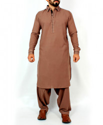 Brown Stylish Design Kurta Shalwar With Black Tippping