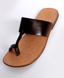 Choco Brown Leather Handmade Kolhapuri Slipper LC-9008