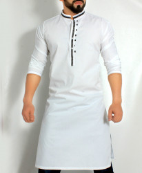 White Stylish Design Kurta with Black Tipping CD-006