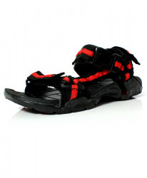 Black Red Tri Strap Stylish Casual Sandal DR-456
