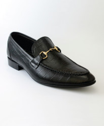 Corio Black Leather Loaf Up Design Shoes JC-116