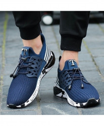 Joomra Navy Running Soft Bottom Mesh Shoes