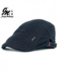 JOYMAY Dark Grey Cotton Grid Embroidery Peaked Berets Hats