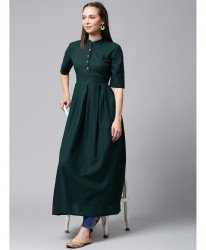 Teal Green Buttoned Slim Fit Style Ladies Kurti ALK-96