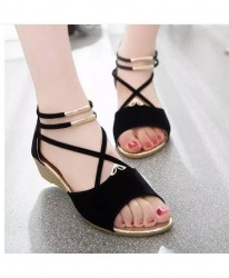 XDA Black Summer Fashion Suede Sandals