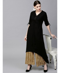 Black Airline Frock Laces Style Ladies Kurti ALK-199