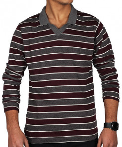 Johnny Collar Stipes Full Sleeve T-Shirt