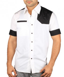 White Short Sleeved Shirt With Black Patches
