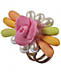 Multi Color Roses On Silver Handmade Ring