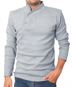 Grey High Neck Button Style Full Sleeve Sweat Shirt