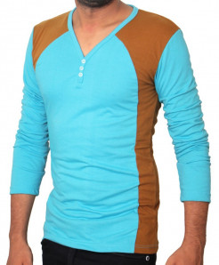 Blue Brown Contrast V-Neck Full Sleeves T-Shirt