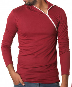 Maroon Side Zipper Hoodie Style Full Sleeves T-Shirt