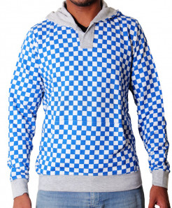 Blue White Checkered Kangaroo Hoodie