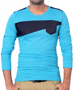 Blue Stylish Pannel Full Sleeves T-Shirt