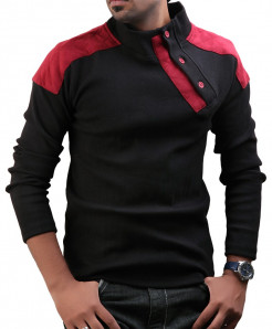 Black Designer Sweat Shirt With Maroon Patches