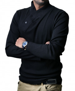 Black High Neck Button Style Full Sleeve Sweat Shirt