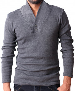 Charcoal V Collar Stylish Sweater