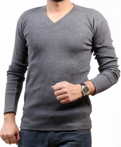 Charcoal V Neck Long Sleeves SWEAT Shirt