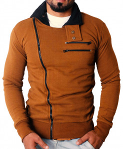 Brown High Collar Winter Zipper Mock