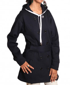 Navy Blue Dual Button Belt Style Ladies Fleece Coat