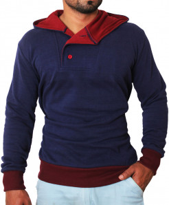 Stylish Navy Blue Buttoned Pullover Hoodie
