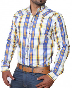Multi Checkered Contrast Sherwani Collar Shirt ZD-1501