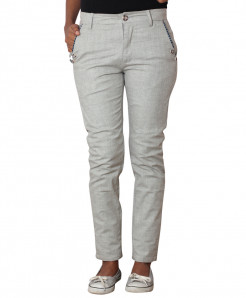 Silver Grey Checkered Pocket Ladies Chino Pants
