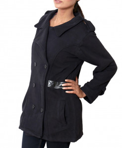 Stylish Belt Style Fleece Ladies Black Long Coat