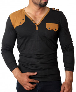 Black Brown Front pocket Stylish Full Sleeves T-Shirt