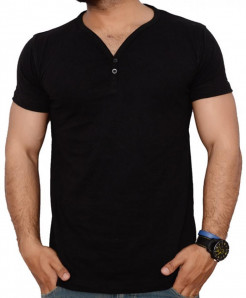 Button Style V Neck Mens T-Shirt QZS-969