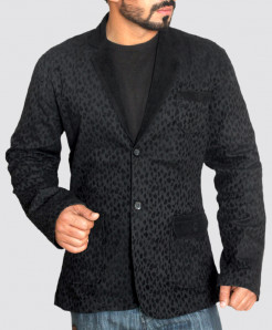 Black Velvet Patches Modern Style Casual Blazer