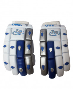 IS One White Blue Cricket Gloves