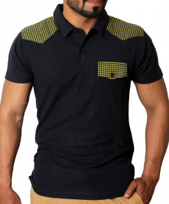 Black With Yellow Contrast Stylish Polo Shirt QZS-996
