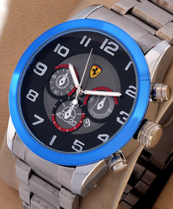 Ferrari Black Blue Dial Stylish Mens Watch