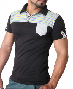 Black Chest Stripes Style Designer Tee