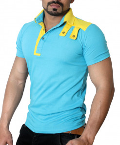 Yellow Shoulder Loops Emerald Collar T-Shirt