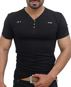 Black V Neck Chest Panel Button Designer Tee