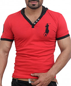 Red Big Polo Pullover Style Designer Tee