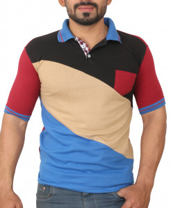 Multi Color Tri Panel Designer Polo Shirt
